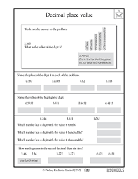 Place Value Chart With Decimals 5th Grade 5th Grade Math Worksheets Decimal Place Value To The Ten