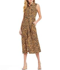 Donna Morgan Size Chart Donna Morgan Leopard Print Tie Waist Midi Shirt Dress