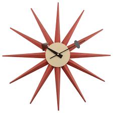 karl mid century modern sunburst clock orange