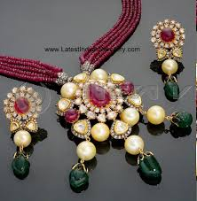 Polki Pendant Set Designs Ruby Beads Necklace With Kundan Polki Pendant Set Ruby