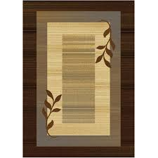 royalty collection brown blue modern area rug with vine leaves design