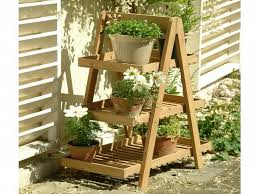 amazing of patio plant stands 3 tier wooden natural