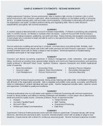 Personal Statement Resume Example Resume Sample Summary Statement Best Resume Personal Statement