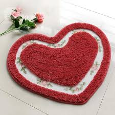 modern unique style heart shaped bath rug