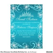 Snowflake Birthday Invitations Blue Shimmer Snowflake Birthday Invite Zazzle Com