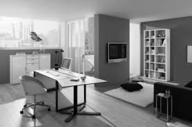 Home office decor contemporer Mans Office Adorable Modern Home Office With Black And White Decor As Well As White Architecture Office Table Black Iron Base And Dark Wall Polished In Modern Apartment Hashook Adorable Modern Home Office With Black And White Decor As Well As
