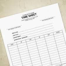 Employee Time Sheet Printable Form Timesheet Working Hours Editable Company Information Digital File Instant Download Tms001