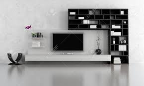 Living Room Tv Stand Black And White Living Room With Tv Stand And Bookcase Rendering