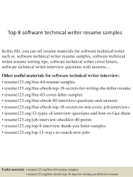 Technical Writer Resume Samples Top 8 Software Technical Writer Resume Samples