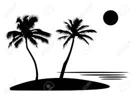 ヤシの木花太陽と熱帯の海の島黒いシルエットと白い背景の輪郭フラット デザイン イラスト