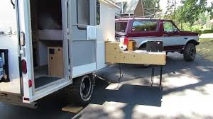 Camper Trailer Kitchen Off Road Cargo Trailer Conversion Slide Out Kitchen Youtube
