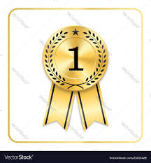 Award Ribbon Gold Icon Blank Medal With Laurel
