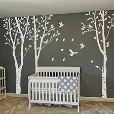 mairgwall set of 3 birch trees with flying birds wall stickers beautiful tree wall decal on tree wall art decals vinyl sticker with amazon mairgwall set of 3 birch trees with flying birds wall