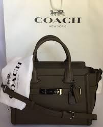 COACH 55496 Swagger 27 Glovetanned Leather DK Fatigue Handbag Satchel Purse  NWT