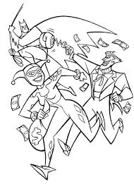Small Picture Joker and Harley Quinn Pursued by Batman Coloring Page NetArt