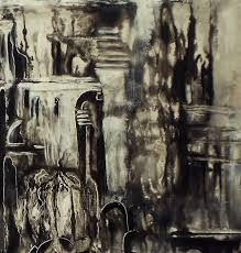 abstract black and white acrylic painting
