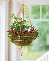 Copper Wire Hanging Basket, Teardrop