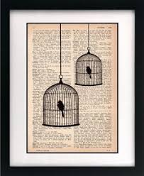 items similar to birdcage print birdcage art print vine dictionary print recycled book page upcycled book page art print on etsy