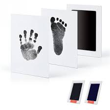baby handprint footprint photo frame kit with an included clean touch ink pad hand footprint makers baby souvenirs keepsake unique baby keepsake