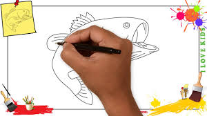bass fish drawing step by step. Brilliant Step How To Draw A Bass Fish SIMPLE EASY U0026 SLOWLY Step By For Kids To Bass Fish Drawing Step By E