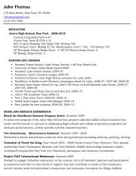 College Admissions Resume Template Resume For High School Senior