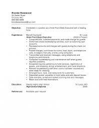 Sample Hotel Desk Clerk Resume Hotel Front Deske Receptionist Sample Agent Objective Skills Office 20