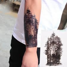 5 стилей моды водонепроницаемый волк лесной татуировки наклейки флэш татуировки
