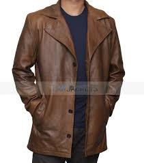 jackson mens brown leather coat