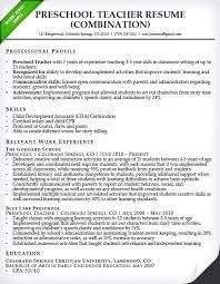 Teaching Resume Cover Letter Preschool Teacher Resume Sample Teacher