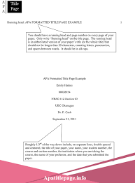 Apa Cover Sheet Template Apa Title Page