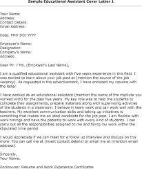 Educational Assistant Cover Letter Sarahepps Com