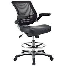 com modway edge drafting chair in black vinyl reception desk chair tall office chair for adjule standing desks flip up arm drafting table