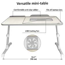 com adjule laptop bed tray table with cooling fan by lap desk master portable laptop couch desk with foldable legs office s