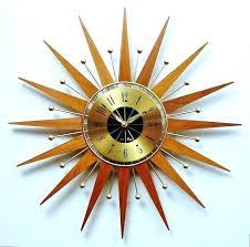 sunburst wall clock mid century modern starburst wall clock starburst clock mid century modern starburst clock by atomic wall