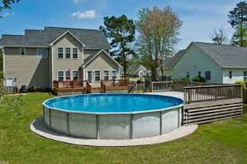 above ground pool and deck for a small yard