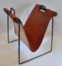 Iron and Leather Magazine Rack