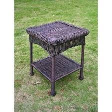 resin outdoor side table international caravan resin and steel outdoor side table antique pecan suncast elements