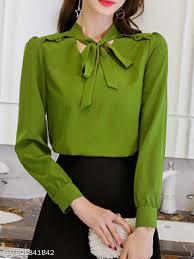 Berrylook Size Chart Autumn Spring Polyester Women Tie Collar Plain Long Sleeve Blouses