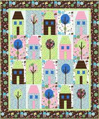 "Quilt Inspiration: Free pattern day! House quilts & Sunsational Beach Club quilt, 60 x 70"", free pattern at Blend Fabrics (PDF  download) Adamdwight.com"
