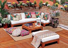 outdoor home decor ideas bright color schemes colorful cushions