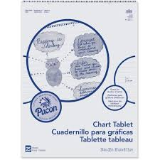 Pacon 74610 Chart Tablet Cursive Cover 1 Ruled 24 X 32 25 Sh 12 Ct Wht Chart Tablet
