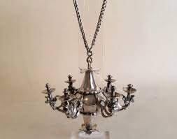 miniature silver chandelier