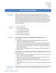 civil foreman sample resume and templates civil foreman resume