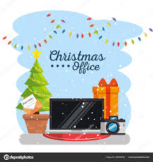Merry Christmas Decorated Workplace Office Stock Vector