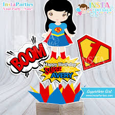 Personalized Superheroes Super Girl Centerpieces Superhero Girl Centerpiece
