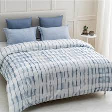 echelon wrinkle resistant reversible print 100 organic cotton blue king duvet cover set