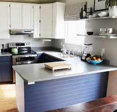 small kitchen remodel before with dated cabinets paint kitchen cabinets to white and navy blue