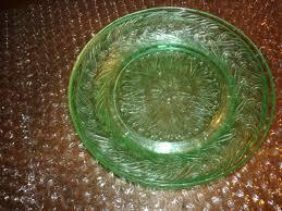 4 6 green depression glass plates pattern unknown dinner