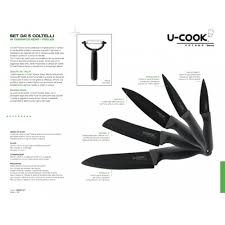 u cook katana series black ceramic knives set
