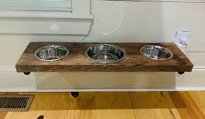 reclaimed barn wood dog bowls